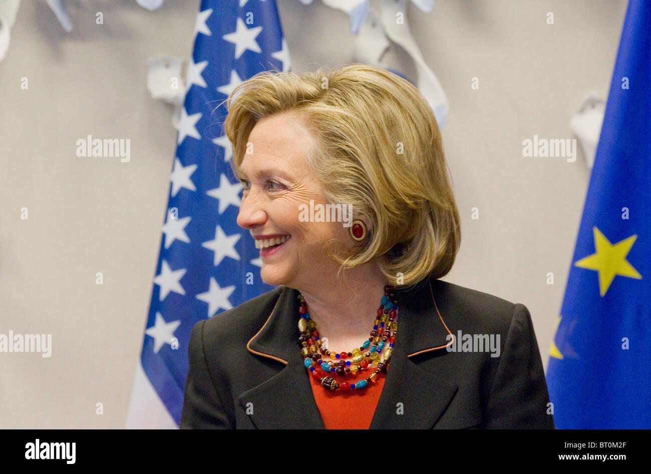 US-Außenministerin Hilary Clinton besuchen Europäischen Rat in Brüssel 14. Oktober 2010 Stockbild