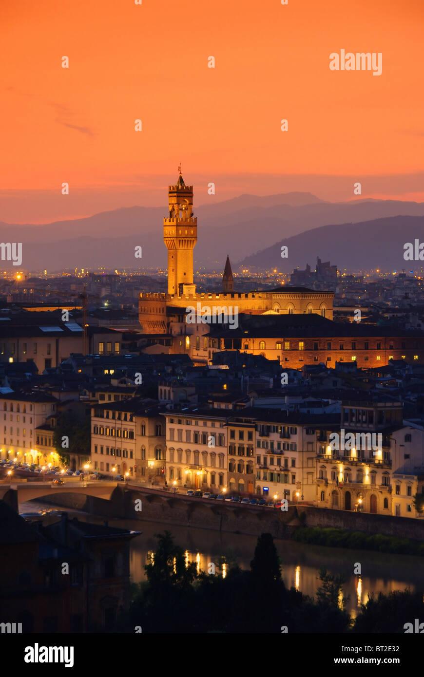 Florenz Palazzo Vecchio Abend - Florenz Palazzo Vecchio Abend 01 Stockbild