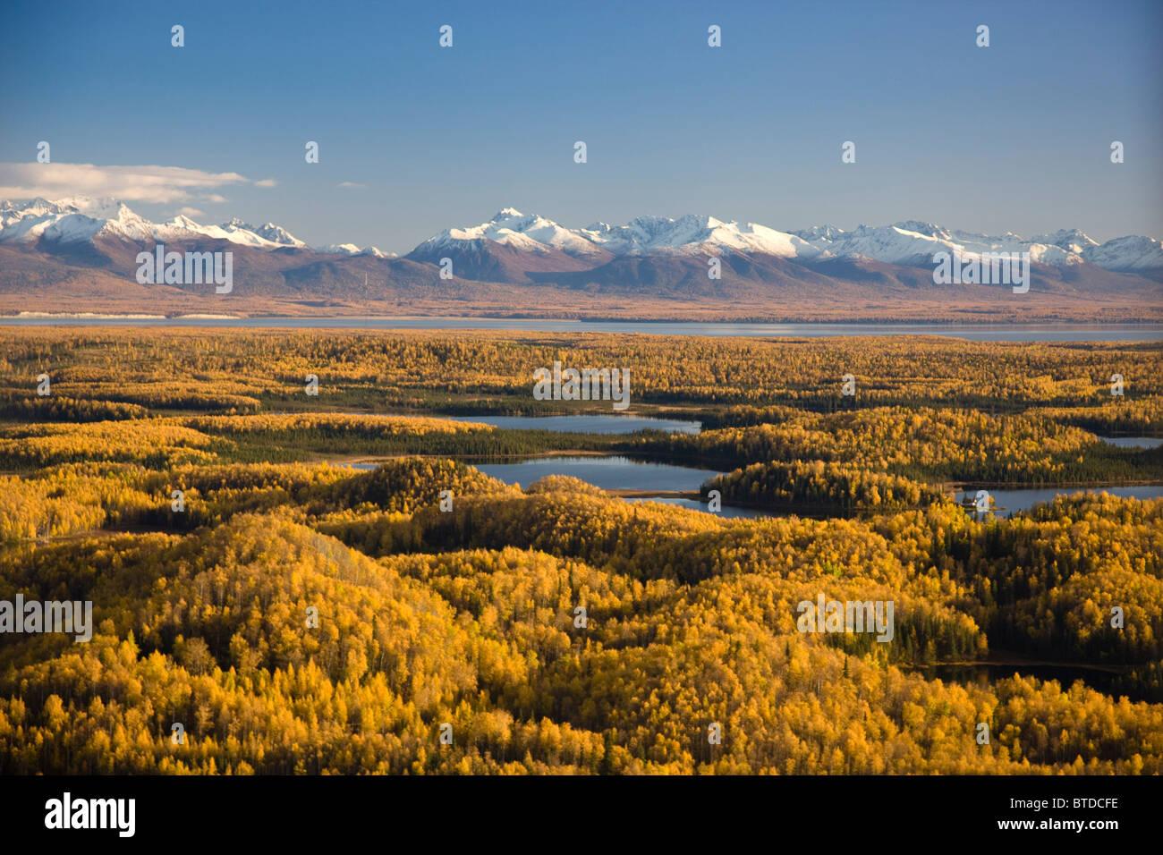 Luftaufnahme der Seen und Birkenwälder an Punkt Mackenzie gegenüber Anchorage, Chugach Mountains, Alaska Stockbild