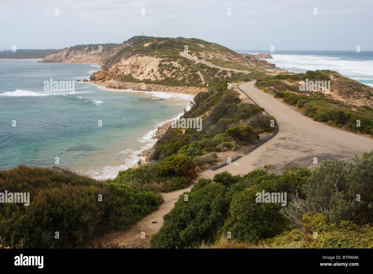 Point Nepean, Sicht auf Straße, Mornington Peninsula, Victoria, Australien Stockbild