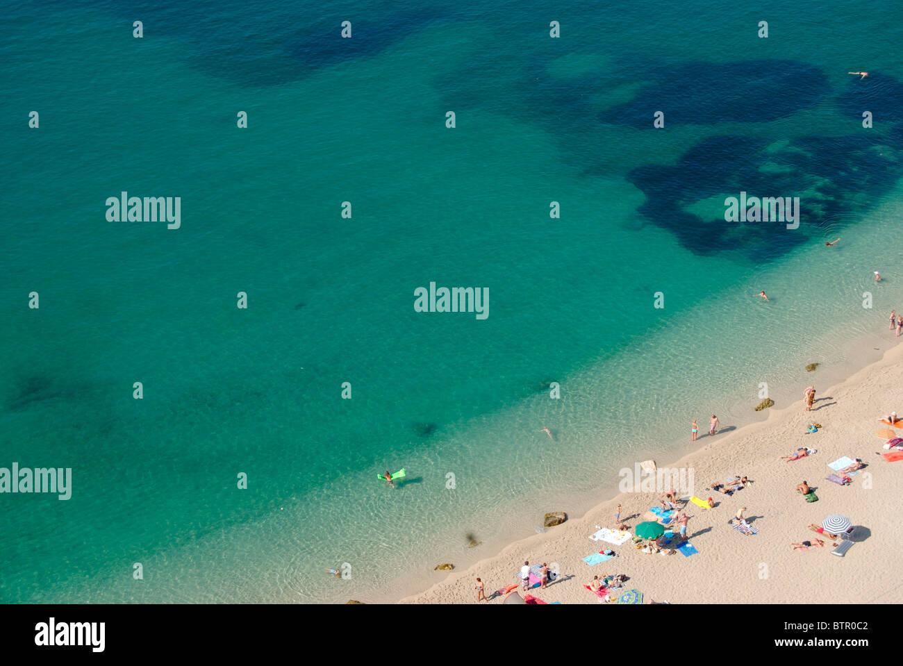 Frankreich, Villefranche-Sur-Mer, Blick über den Strand Stockfoto