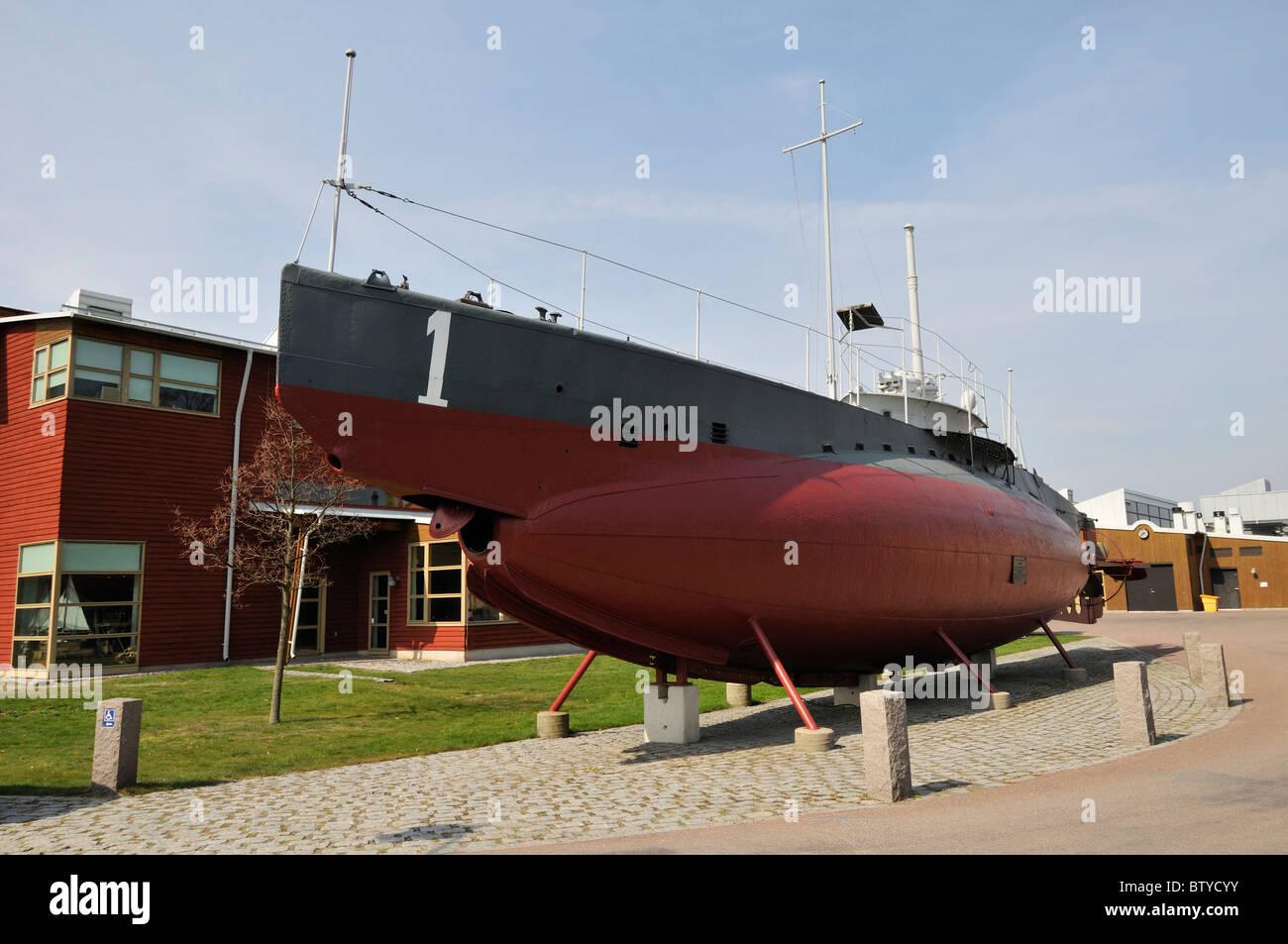 Die erste schwedische Marine u-Boot HMS Hajen im Marinemuseum in Karlskrona, Blekinge Lan, Schweden Stockbild