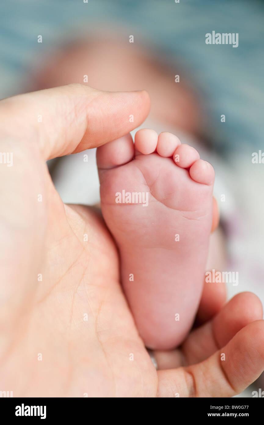 Vater holding Fuß Baby girl Stockbild