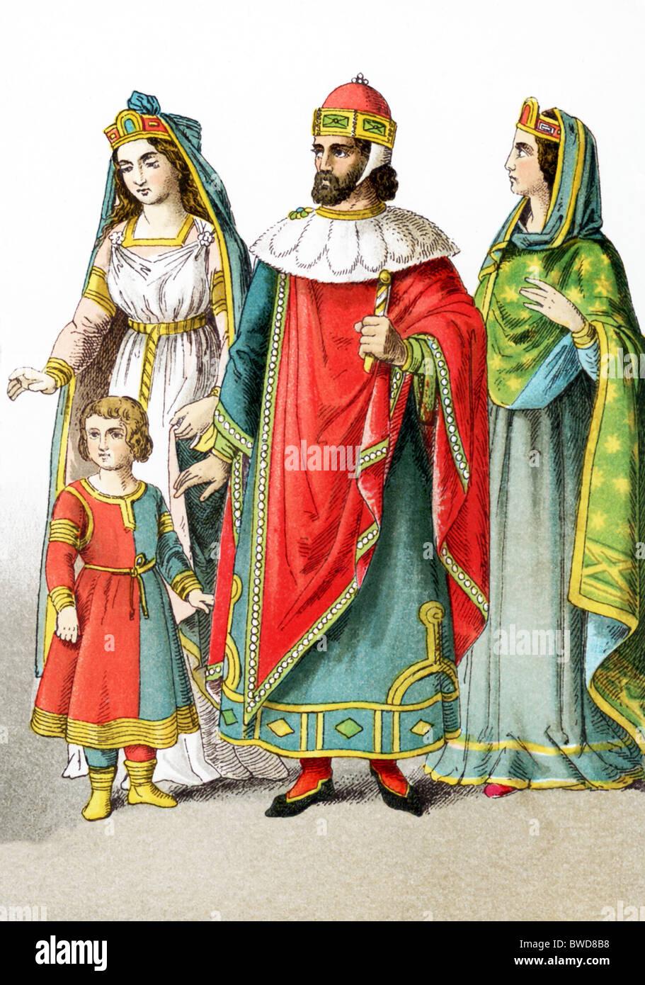 Venezianischen Adligen um 1200 n. Chr.: eine venezianische Dame von Rang mit einer venezianischen Dame von Rang, Stockbild