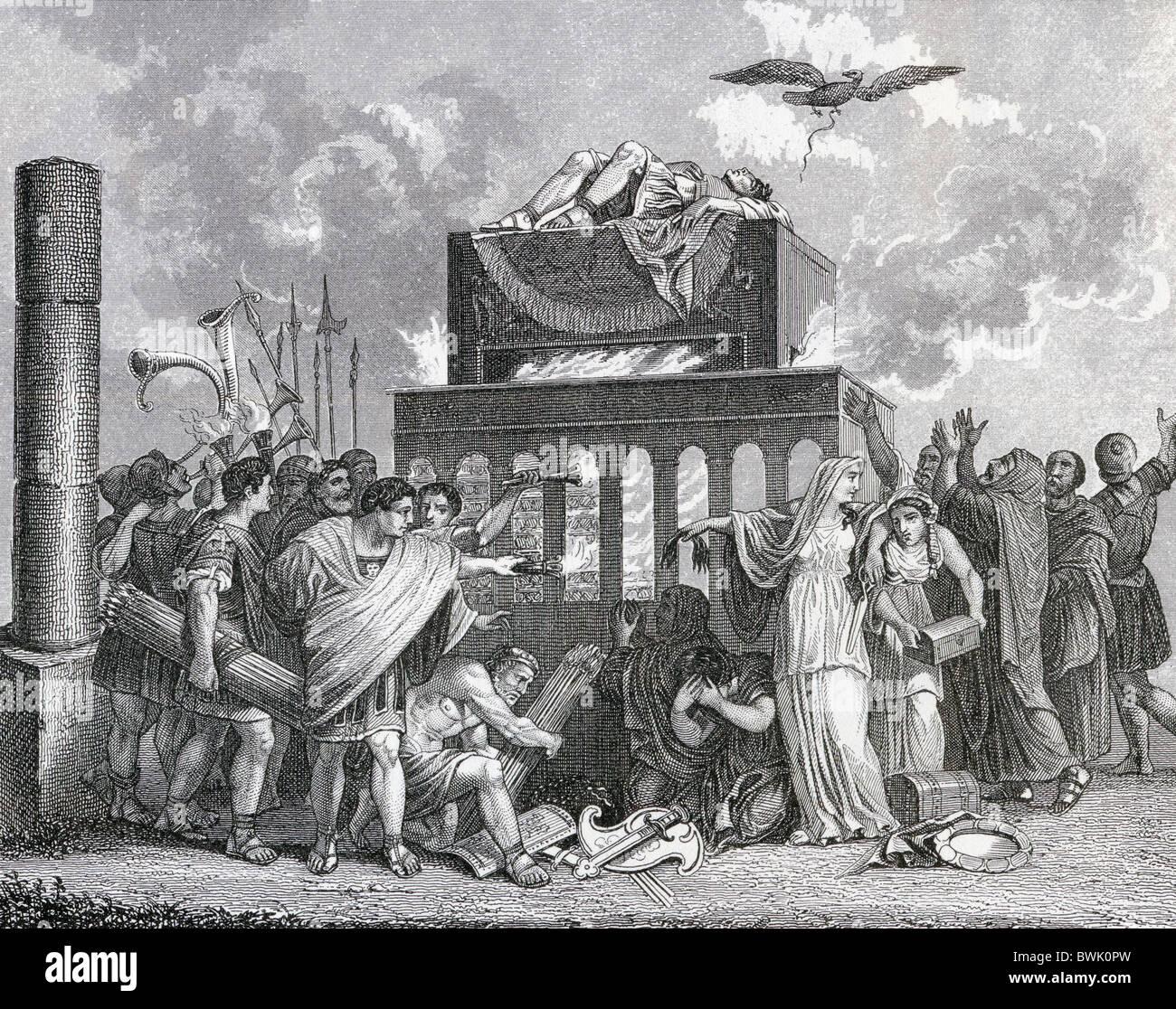Beerdigung eines Kaisers im alten Rom. Stockbild