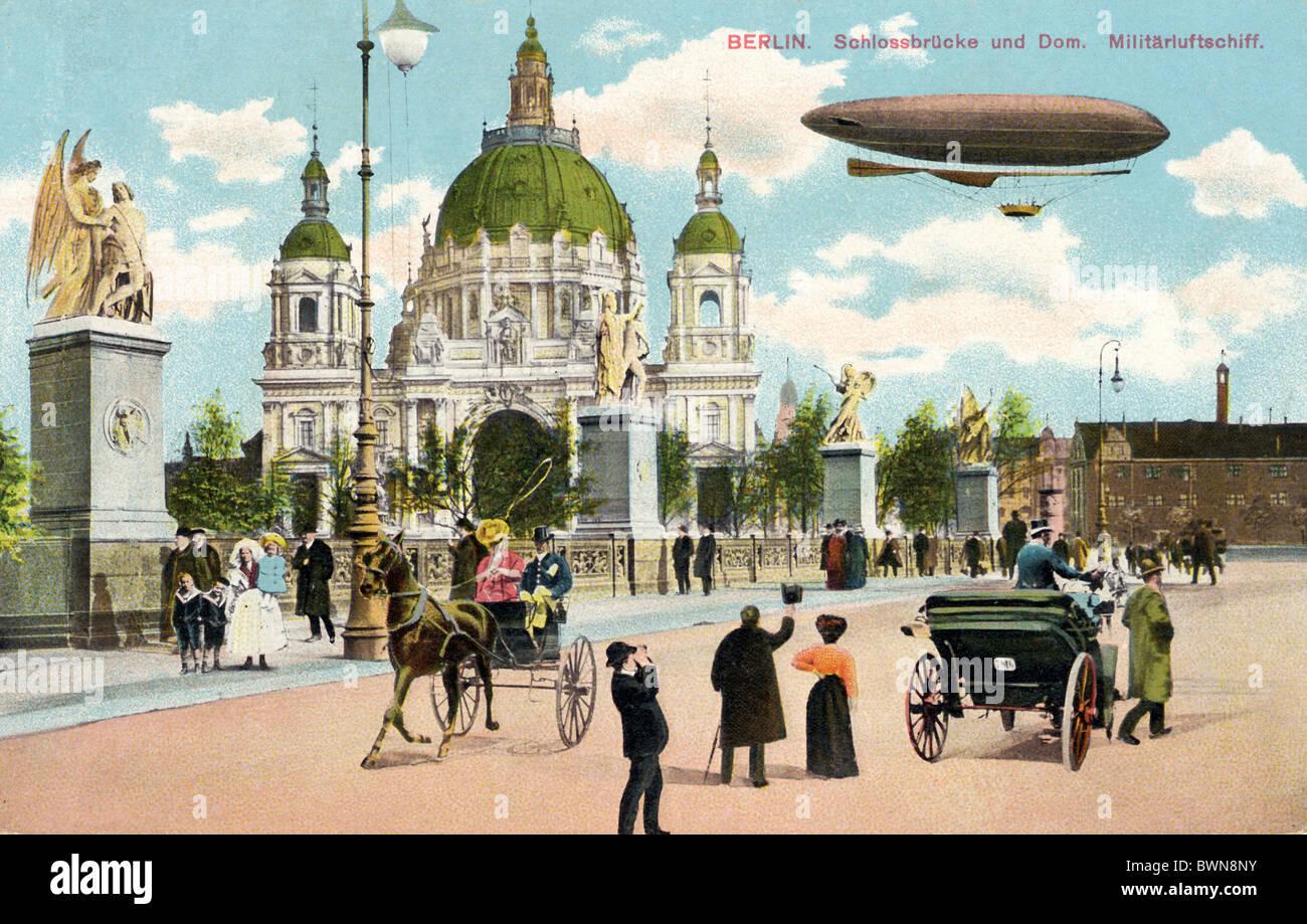 Berlin Schlossbrucke Dom in der Nähe von 1915 Geschichte historische historische Deutschland Europa Deutsche Stockbild