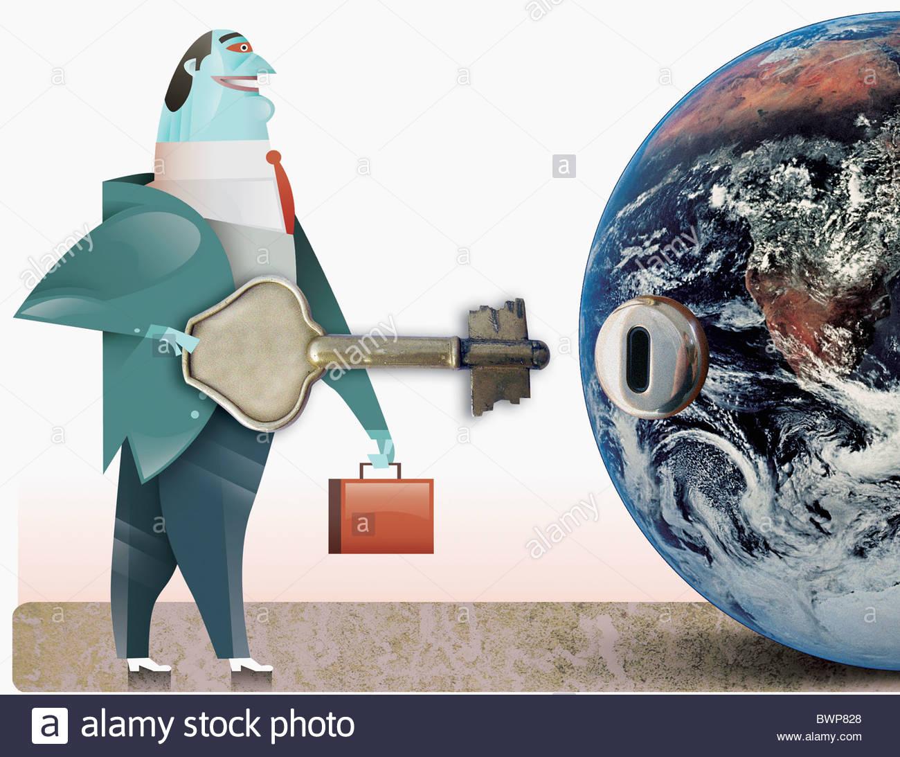 Geschäftsmann, die Taste in der Nähe von Schlüsselloch auf Globus Stockbild