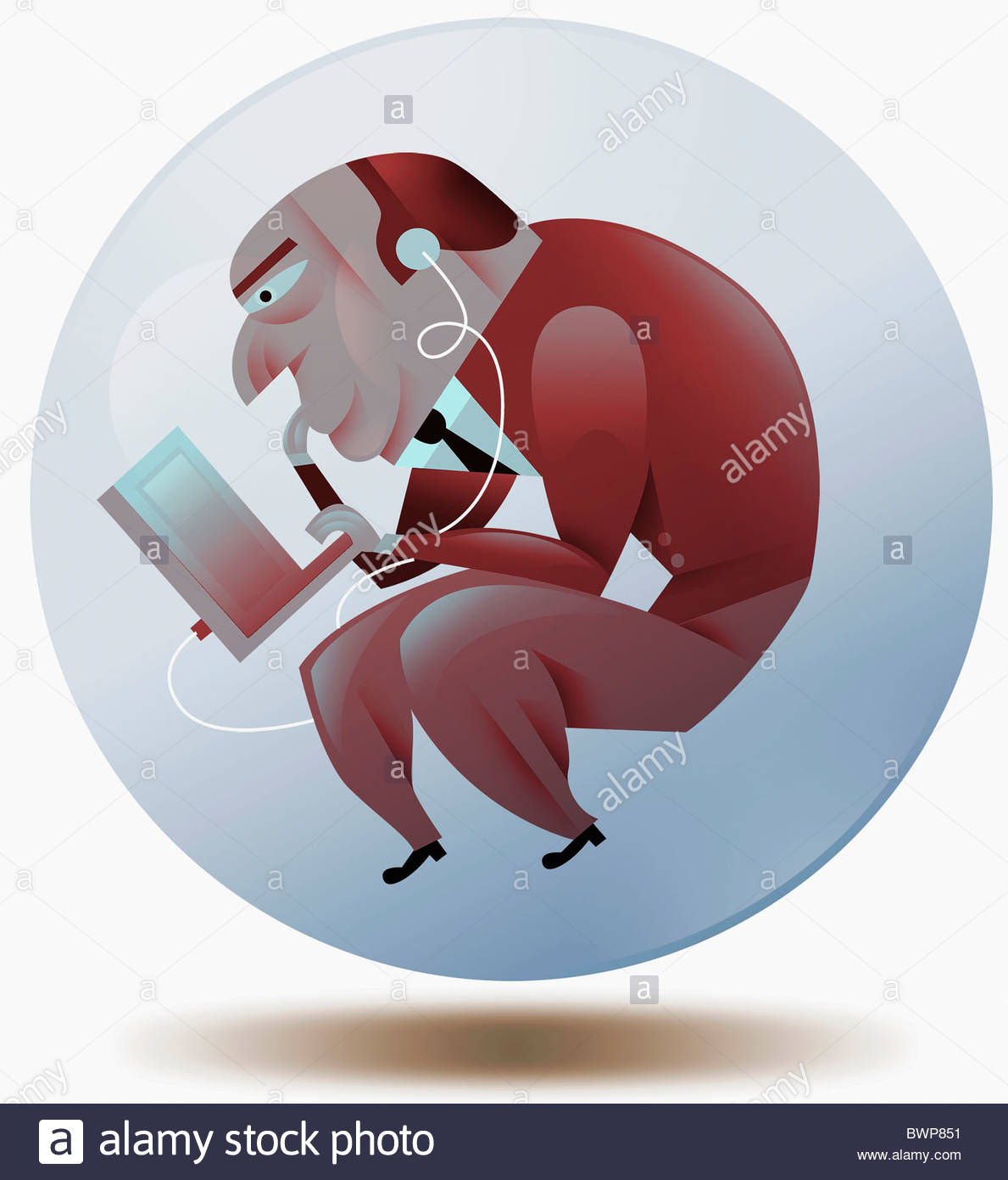 Hockender Geschäftsmann mit Laptop mit Ohrhörer Stockbild