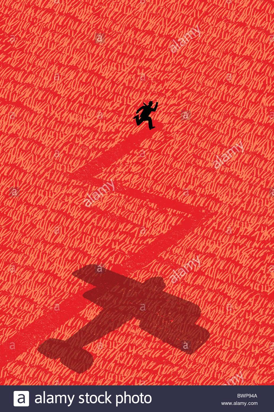 Altmodische Flugzeug jagt Man durch Feld Stockfoto