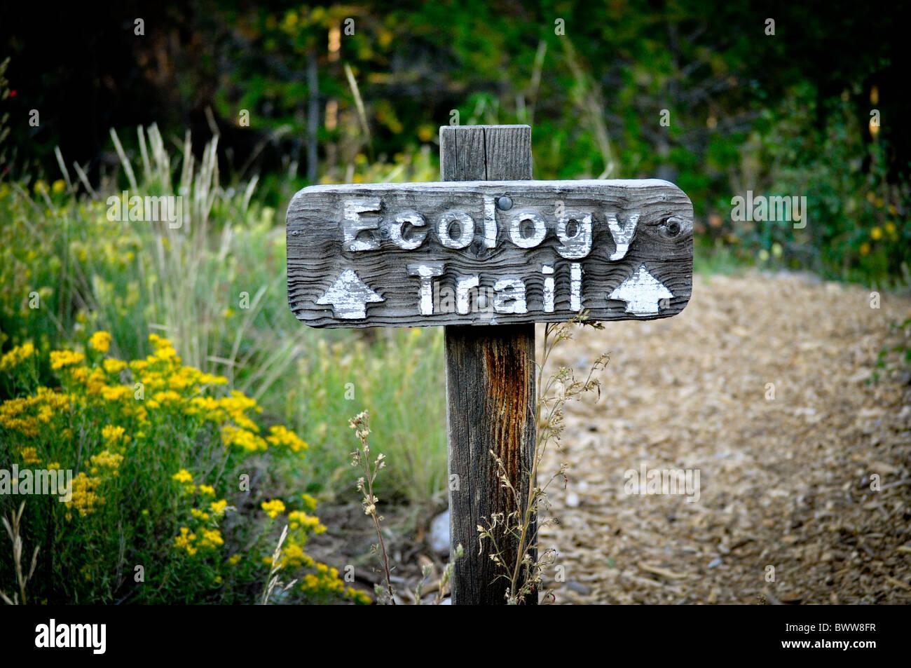 Ökologie-Trail-Zeichen Stockbild