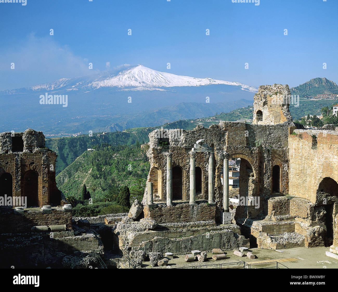 in der griechischen Ruinen Antike Antike Antike Italien Europa Sizilien Taormina Theater Vulkan Ätna Stockbild