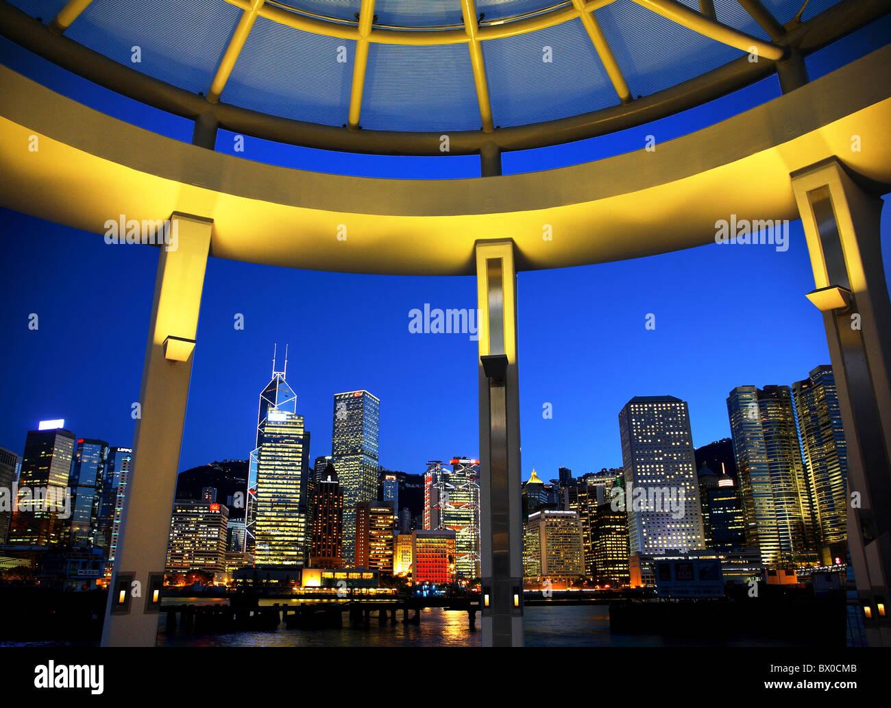 Wolkenkratzer im Central District, Hong Kong, China Stockfoto