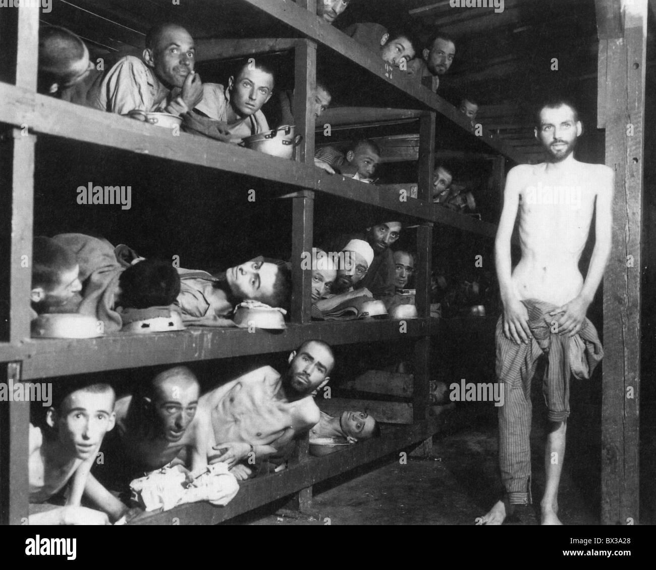 OHRDRUF-Konzentrationslager in der Nähe von Gotha, Deutschland, fotografiert von US-Truppen nach der Befreiung am Stockfoto