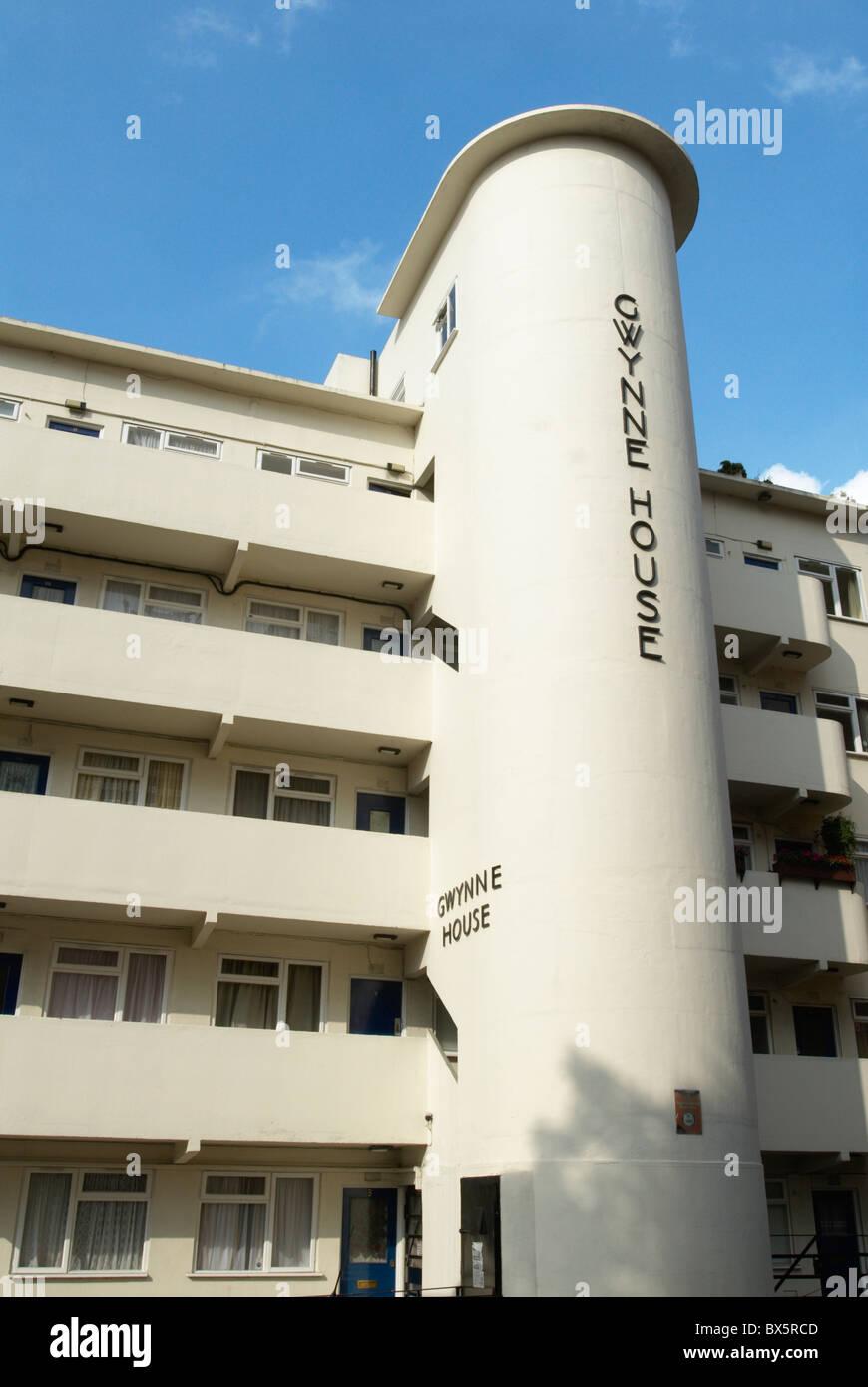 1930er Jahre Art-Deco-Stil Wohnblocks Whitechapel East London UK Stockfoto