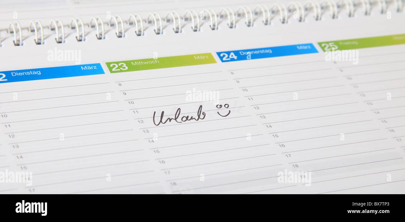 Ein standard-Zeitplan. Der deutsche Begriff ist Urlaub gekennzeichnet. (Englisch: Urlaub) Stockbild