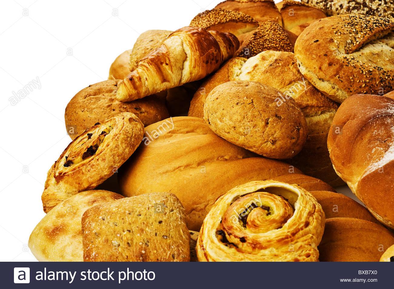 Auswahl von frischem Brot Stockbild