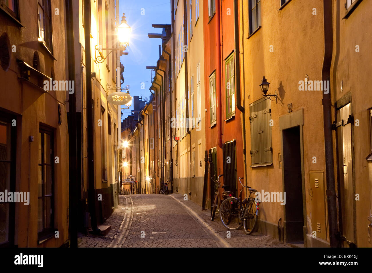 Historische alte Straße in der Altstadt Gamla Stan in Stockholm Schweden Stockbild