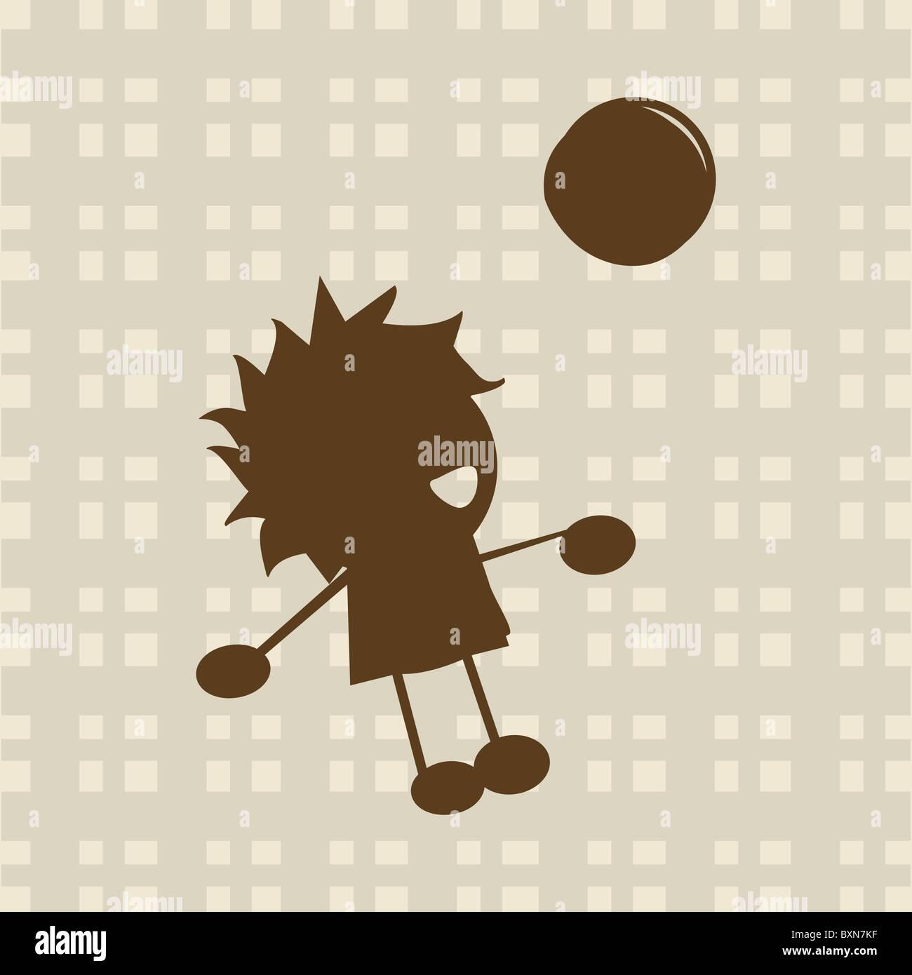 Kleiner Junge mit Ball spielen Stockbild