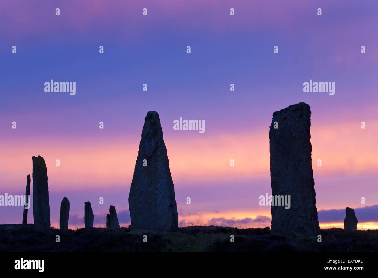 Der Ring of Brodgar stehenden Steinen Orkney Islands-Schottland Stockbild