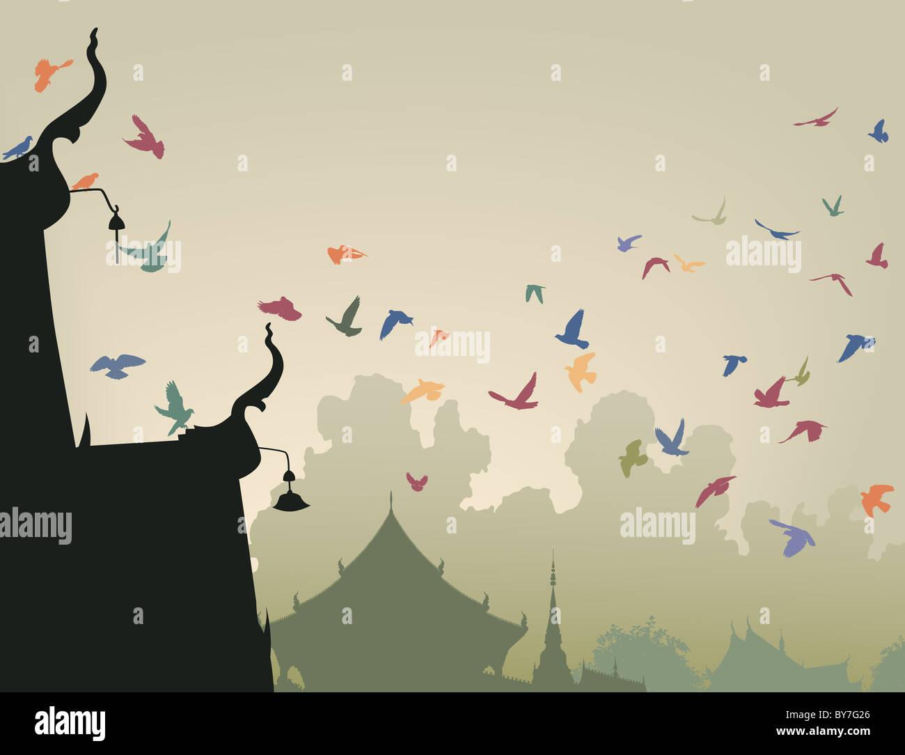 Illustration der bunten Tauben fliegen zu einem buddhistischen Tempel Dach Stockfoto