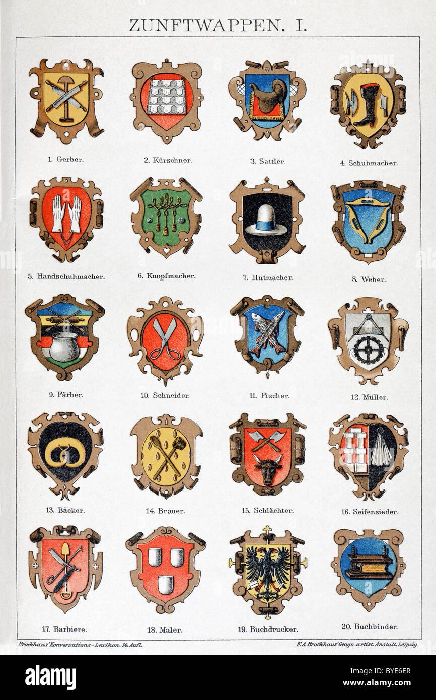 Medieval Guild Signs Guild Guilds Stockfoto...