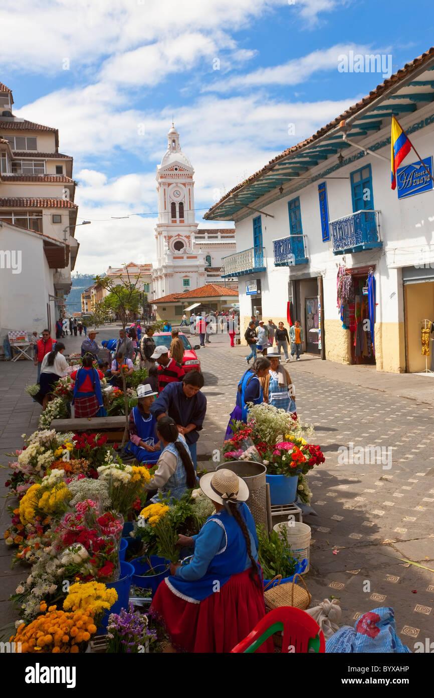 Blume Verkäufer Cueneca Ecuador Stockbild