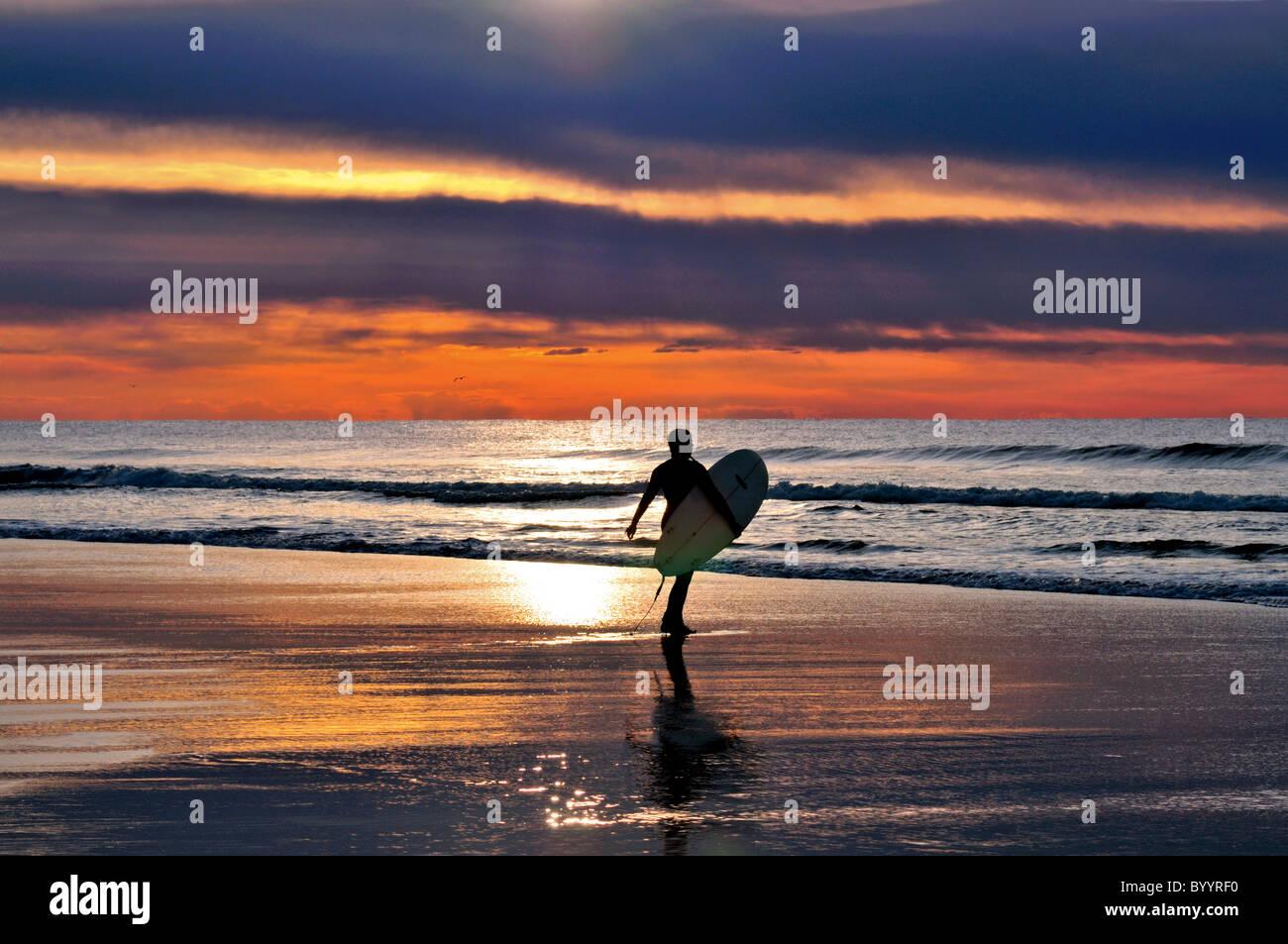 Portugal, Algarve: Surfer am Strand Praia do Amado Stockbild