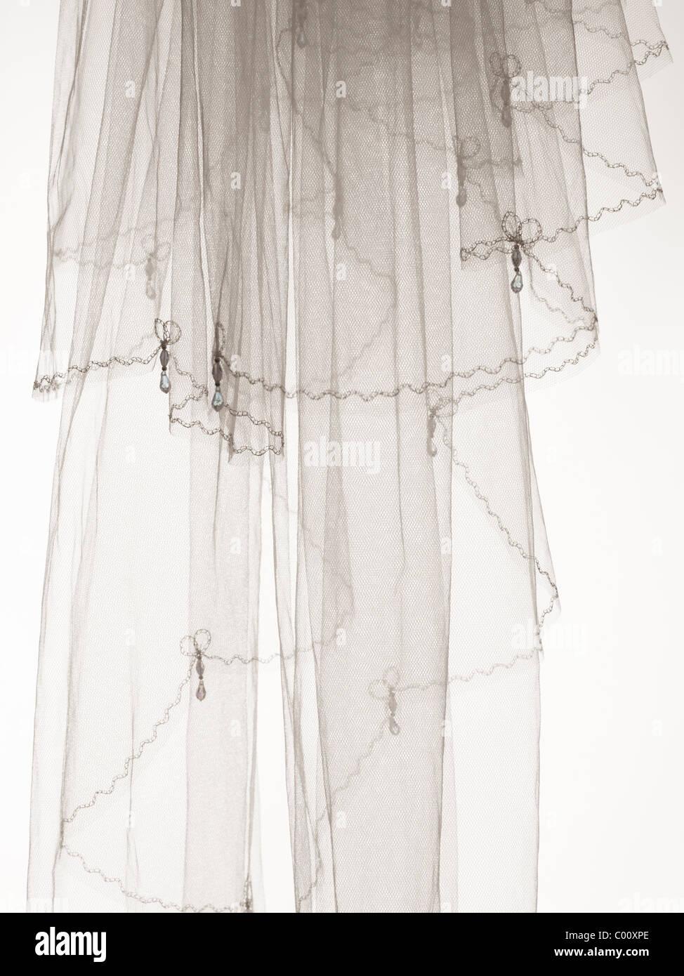 Hochzeitsschleier im Studio fotografiert Stockbild