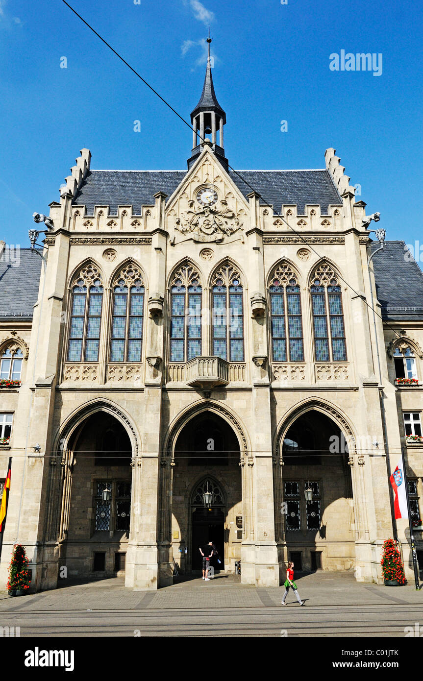 Erfurter Rathaus im neugotischen Stil oder Neo-gotischen Stil erbaut, Fischmarkt Fisch Markt, Erfurt, Thüringen, Stockbild