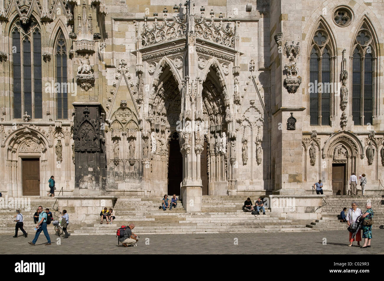 Westen Portal style Regensburger Dom, Gothic, UNESCO-Weltkulturerbe, Oberpfalz, Bayern, Deutschland, Europa Stockbild