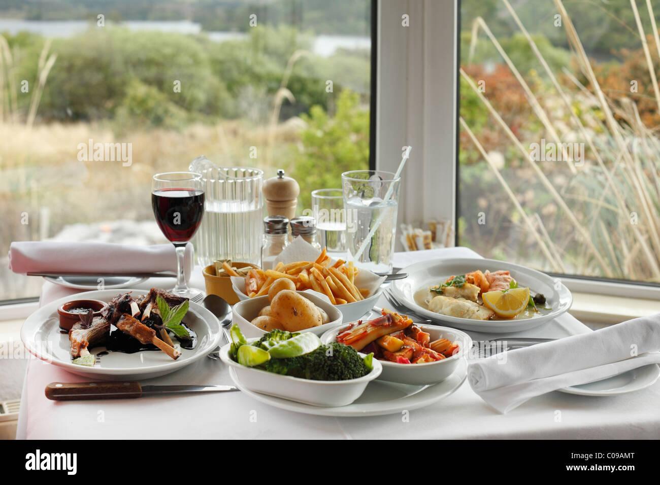 Abendessen mit Lammkoteletts und Rotwein, Josie Lakeview House, Beara Halbinsel, County Kerry, Irland, britische Stockbild