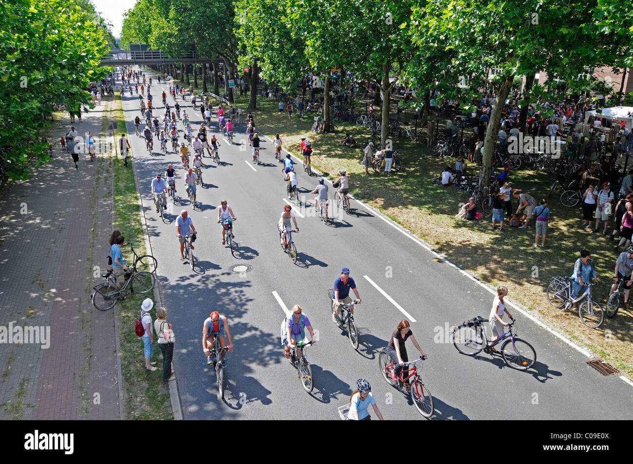 Radfahrer, Still-Leben Ruhrschnellweg, B1, A 40 Autobahn, Autobahn gesperrt für Autos, Kunstevent, Hauptstadt Stockbild