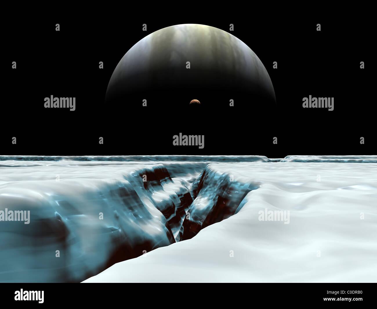 Ein Halbmond Jupiter und vulkanischen Satellit, Io, schweben über dem Horizont von der eisigen Mond von Europa. Stockbild