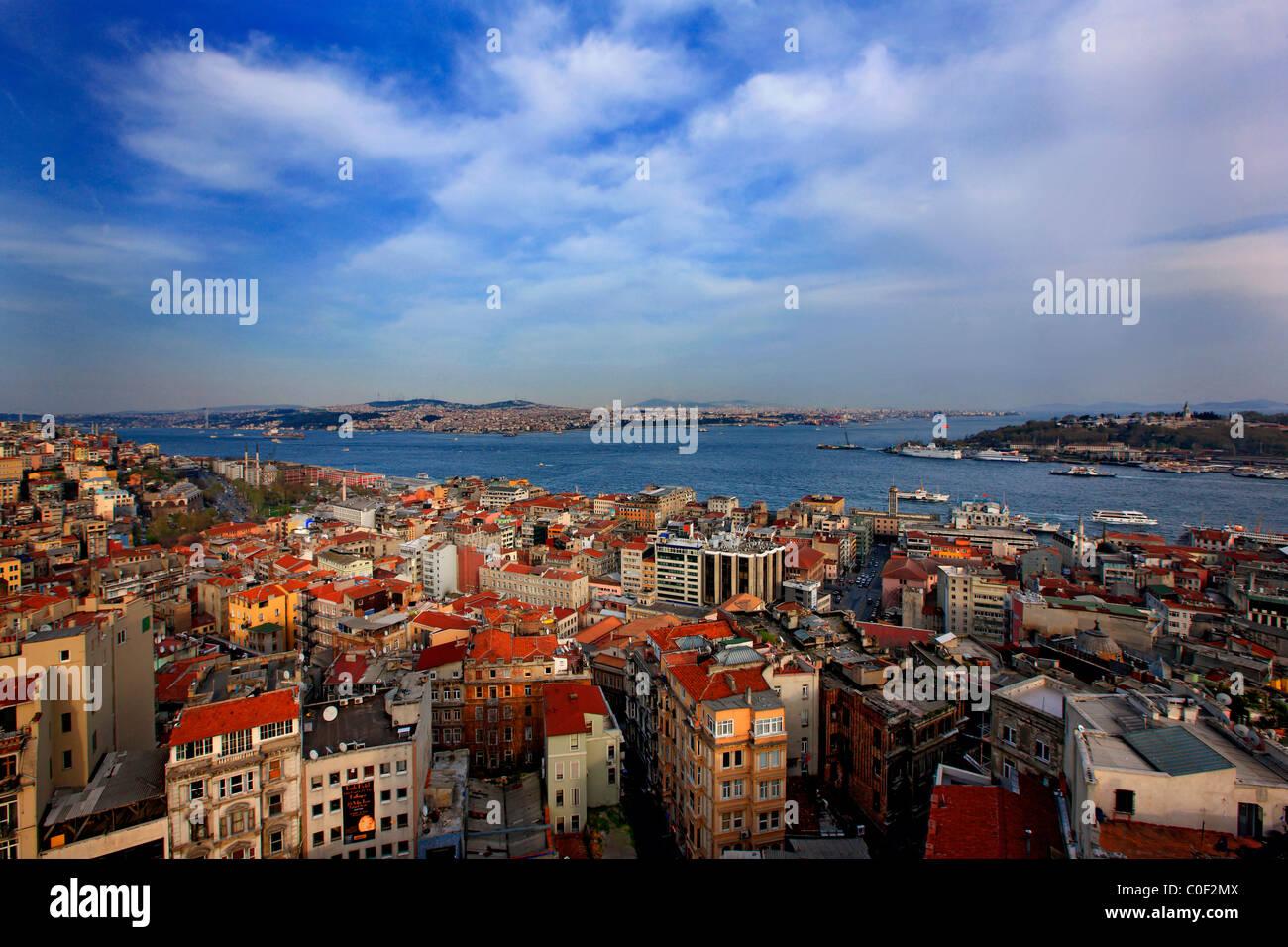 Panoramablick auf Istanbul vom Galata-Turm. Turkei Stockbild