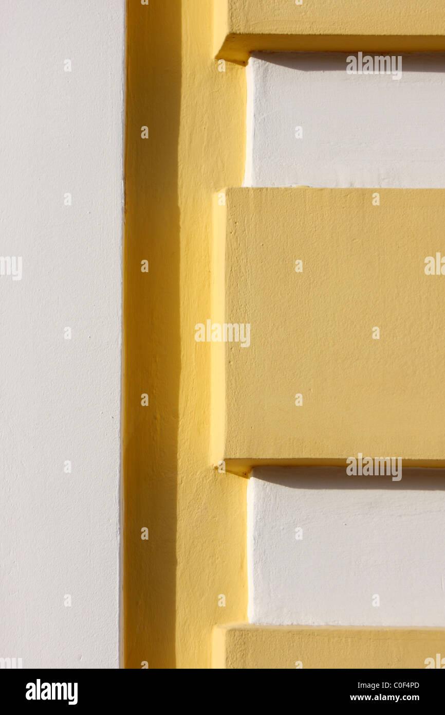 Gelben und weißen Beton Textur mit einem Schatten Stockbild