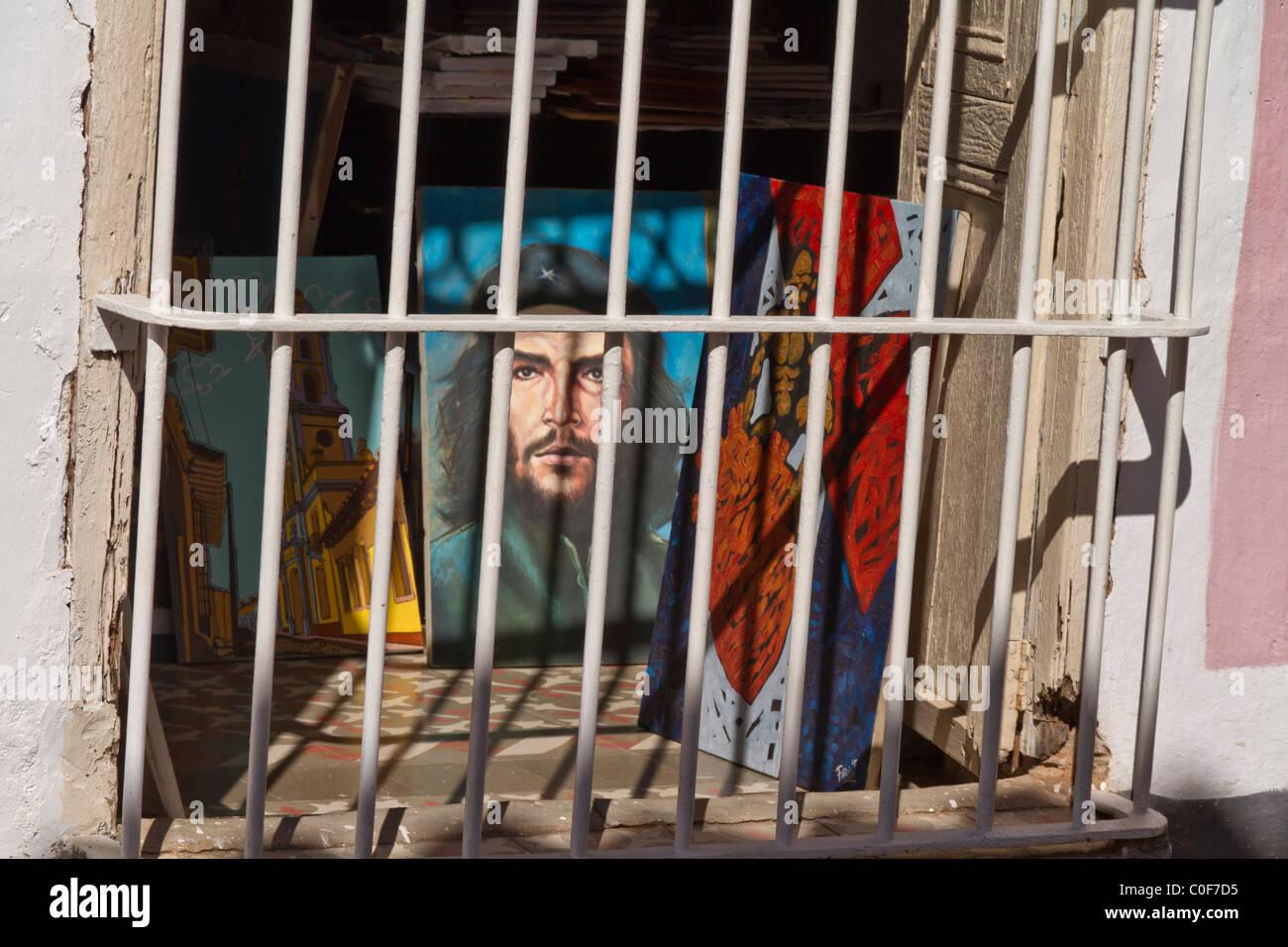 Kubanische Kunst, Che Guevara Malerei, Trinidad, Kuba Stockbild