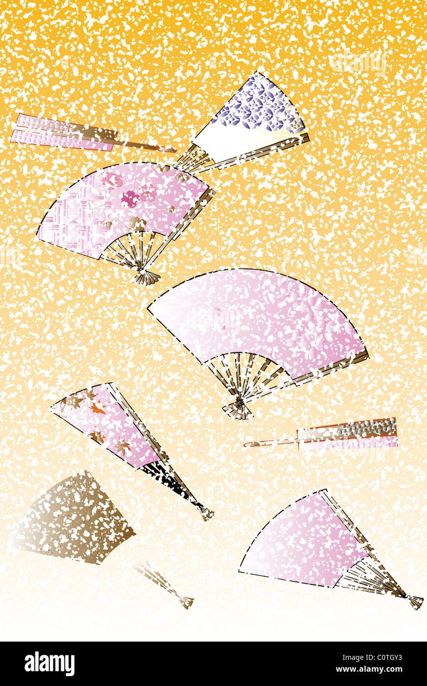 CG der japanischen Malerei, Fan Stockbild
