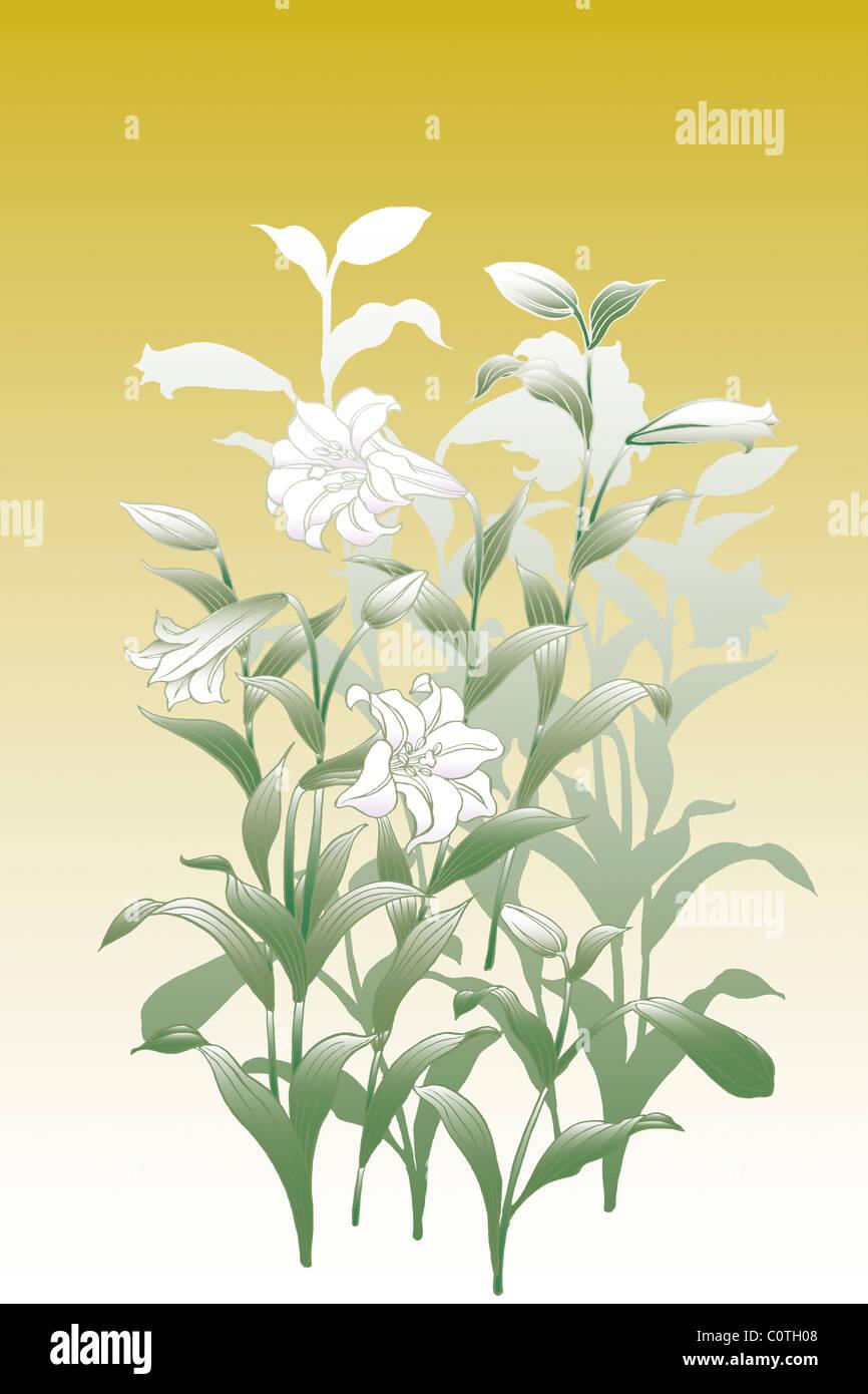 CG der japanischen Malerei, Lily Stockbild