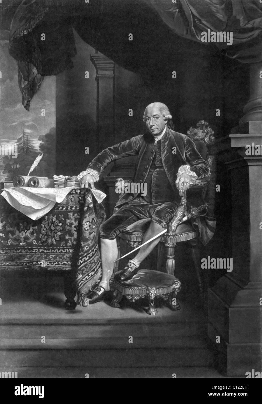 Vintage Porträt Druck amerikanischer Staatsmann Henry Laurens (1724-1792) - Präsident des zweiten Kontinentalkongress Stockbild