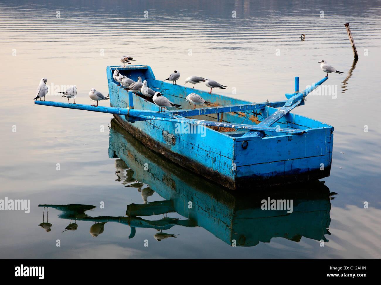 """Einen ruhigen Moment in See Orestias (oder """"Orestiada"""") mit Vögel ruhen auf einem """"Plava"""" Stockbild"""