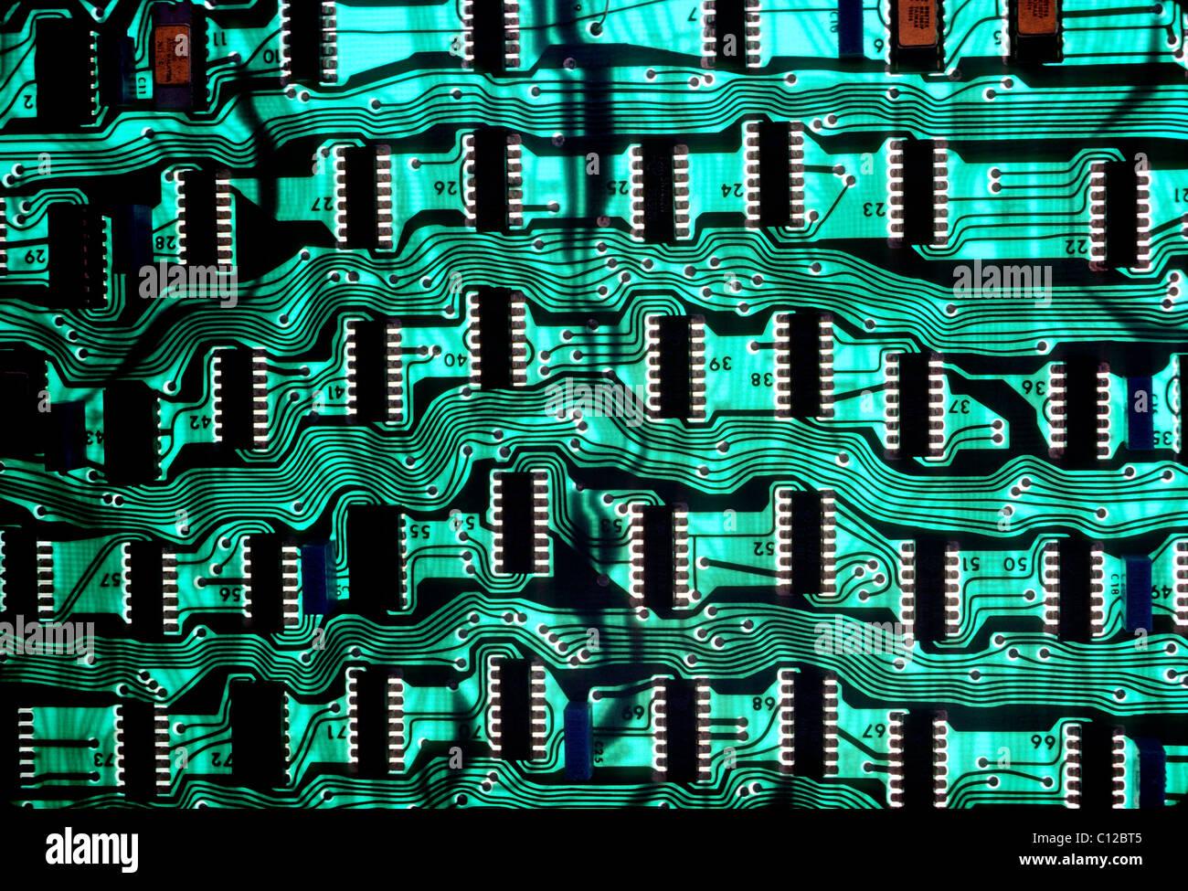 Nahaufnahme einer Computer-Platine Stockbild