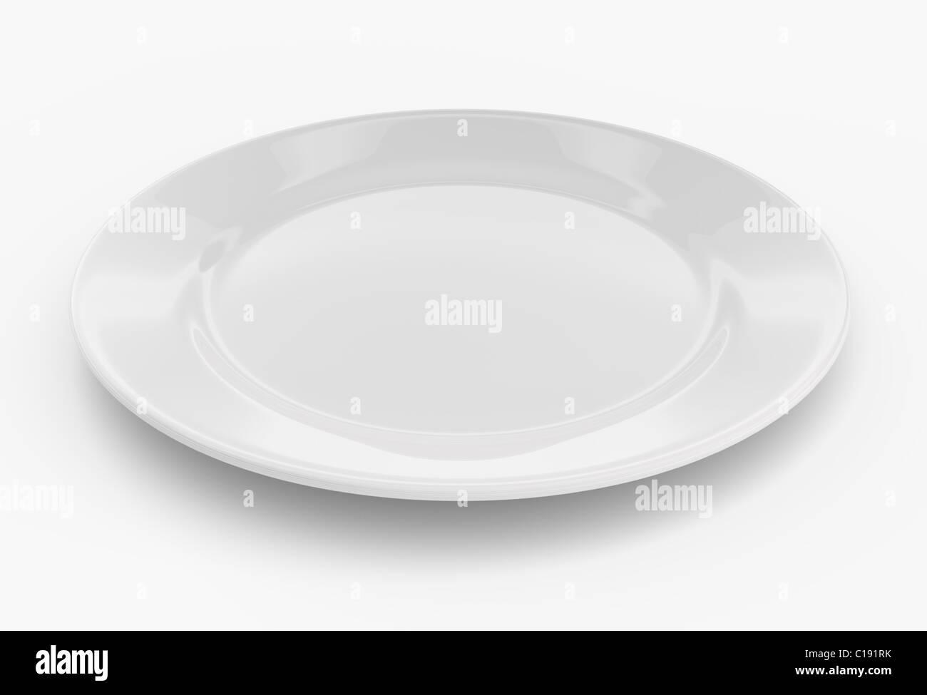 Leere Abendessen Platte Vorderansicht auf weißem Hintergrund Stockbild