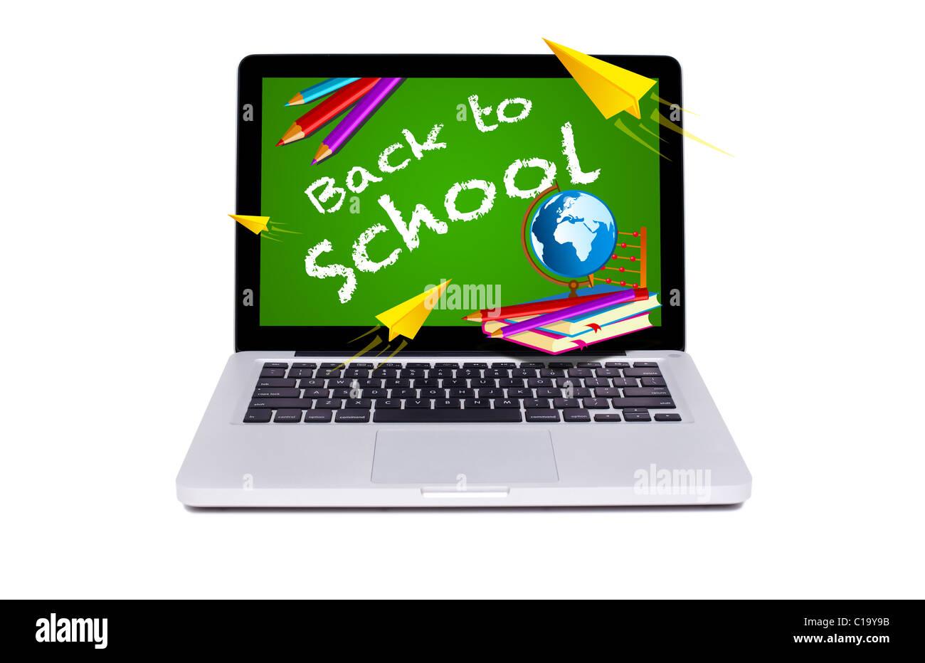 Isolierten modernen Laptop zurück zu Schule Tafel Stockbild
