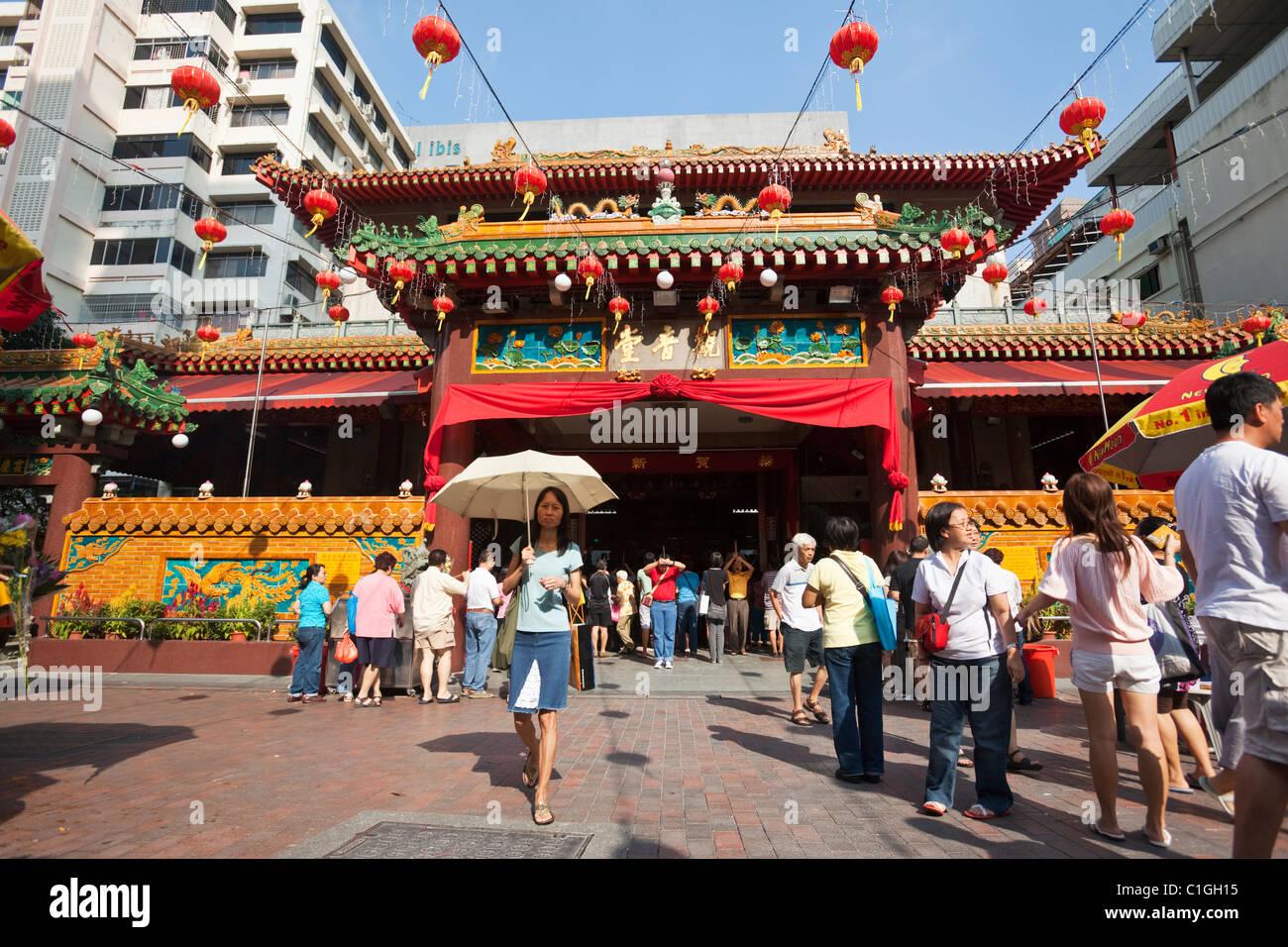 Die Kwan Im Thong Hood Cho Tempel.  Bugis, Singapur Stockbild