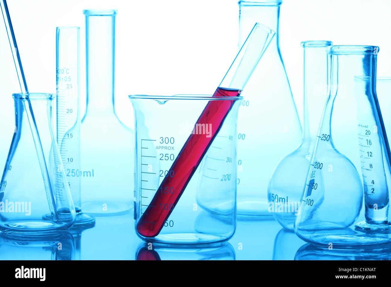 Laborglas im Labor Stockbild