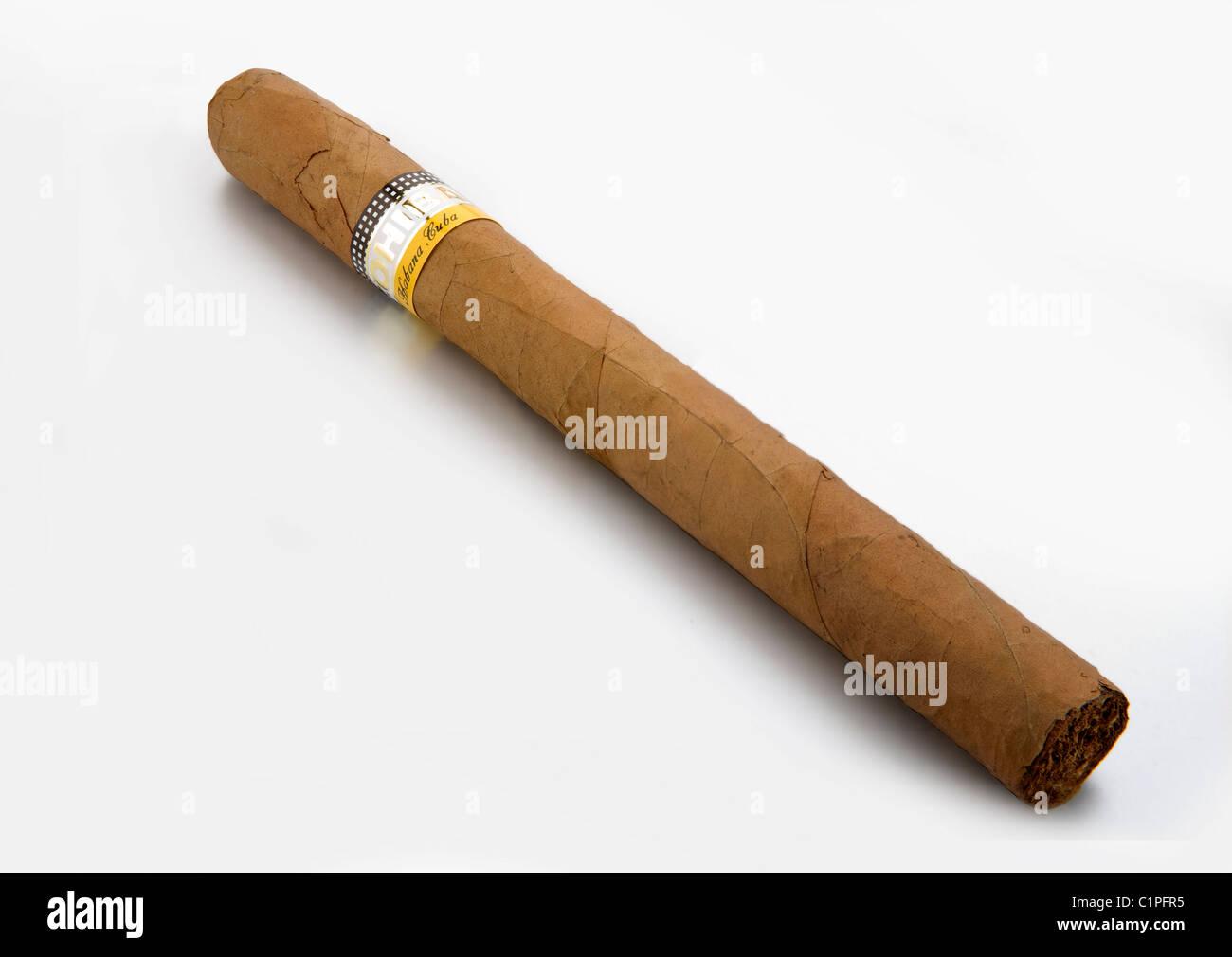 kubanische Zigarre auf weißem Hintergrund Stockbild
