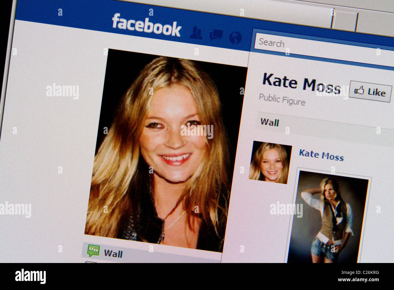 Kate Moss-Facebook-fanpage Stockbild