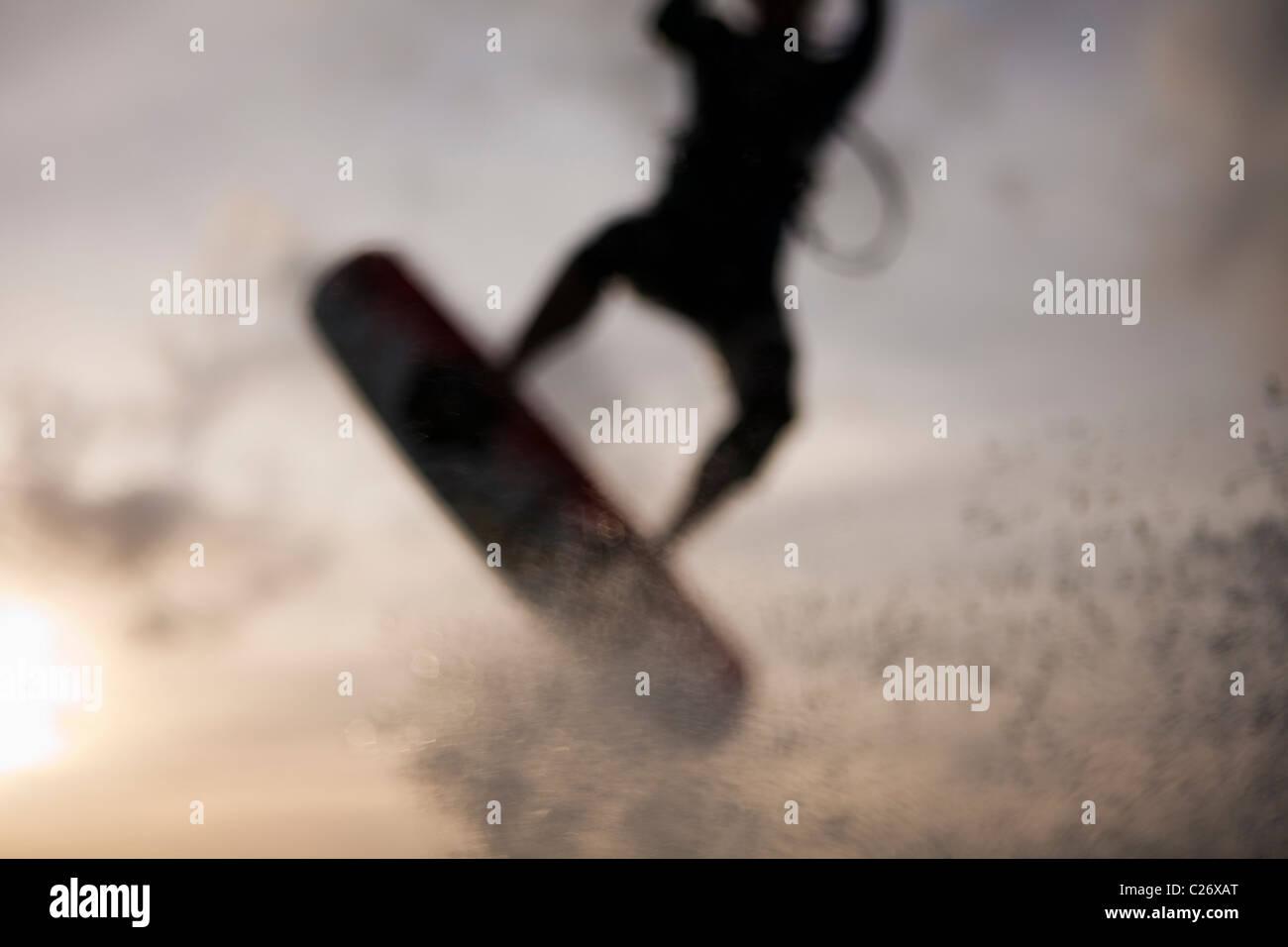 Kiteboarding Waimanalo @ Sunrise, Männlich, David Giardini, Airtime, springen Stockbild