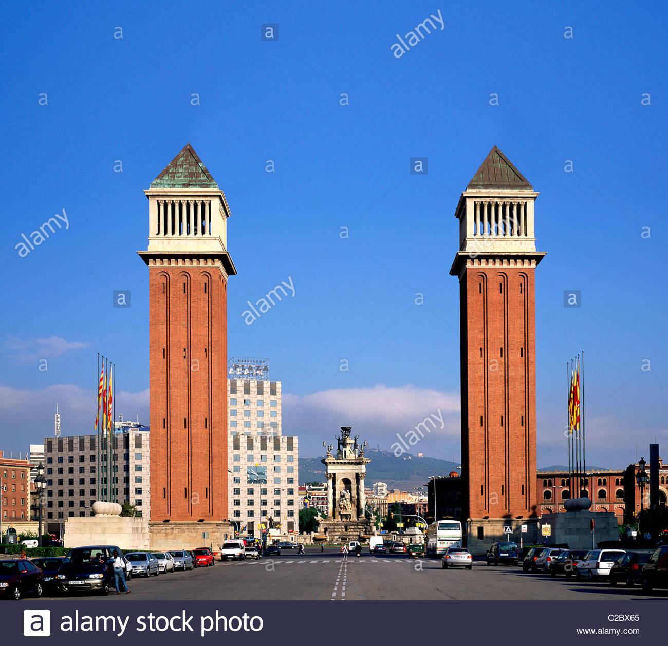 Venezianischen Türme am Placa de Espanya in Barcelona. Stockbild