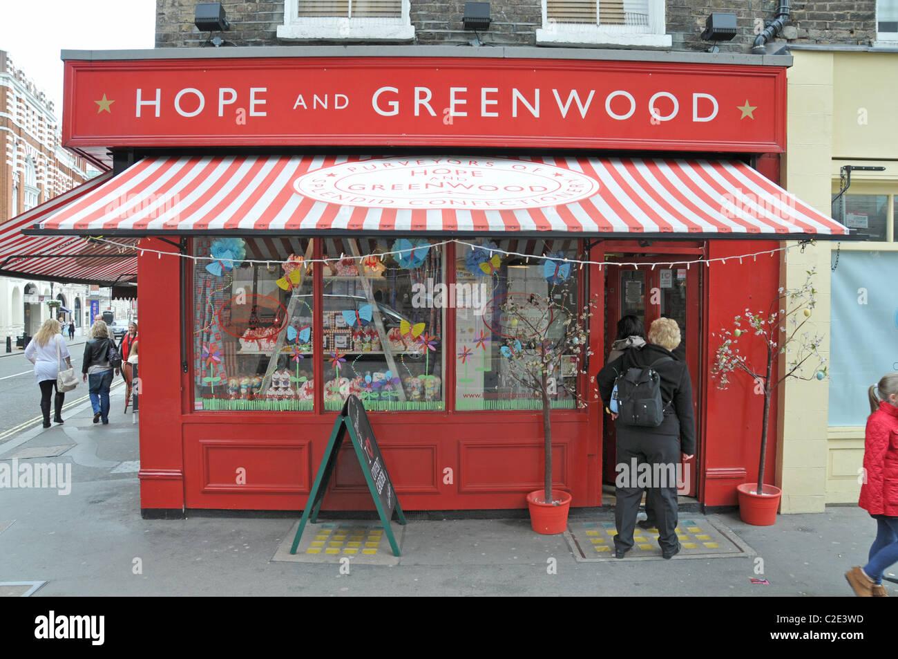 Hoffnung und Greenwood traditionelle englische Süßwarenladen Candy store Covent Garden in London Stockbild